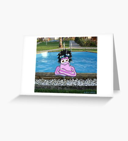 Hal in the Pool Greeting Card