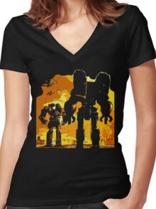 robot jox Women's Fitted V-Neck T-Shirt