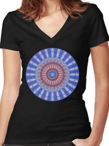 Star Shield Mandala Women's Fitted V-Neck T-Shirt