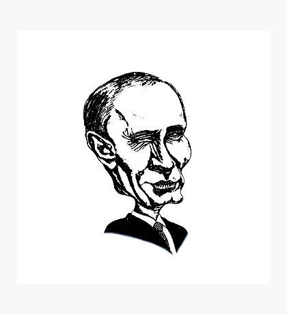 Black and white illustration, cartoon portrait  - Putin Photographic Print