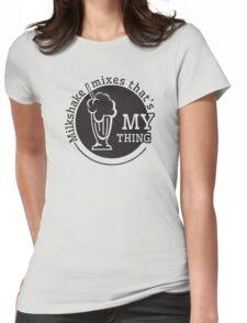 cool retro drink milkshake dire straits lyircs summer chill out t shirts Womens Fitted T-Shirt