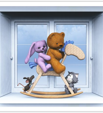 All together on the rocking horse Sticker