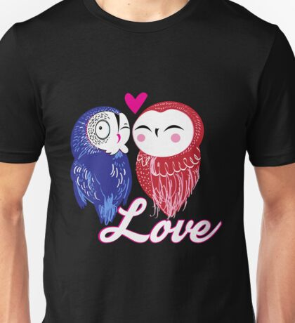 Seamless bright pattern with owls in love Unisex T-Shirt