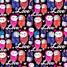 Seamless bright pattern with owls in love by Tanor