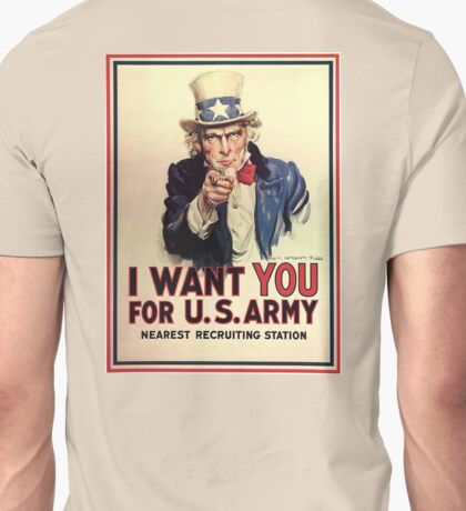 UNCLE SAM, America, American, I Want You! Uncle Sam Wants You, USA, War, Recruitment Poster Unisex T-Shirt