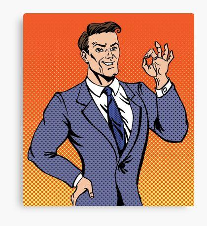 Successful Man in Pop Art Style Gesturing Okay Canvas Print