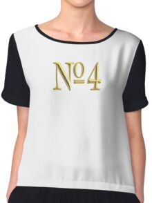 4, NUMBER 4, GOLDEN 4, NUMBER FOUR, FOUR, 4, FOURTH, Competition, TEAM SPORTS,  Chiffon Top