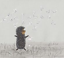 Nursery art - Hedgehog in the Fog fly like butterflies by Marikohandemade