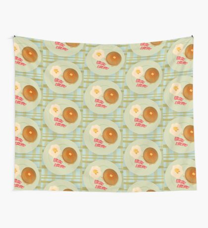 Kirby Breakfast Plate Eggs Bacon and Pancakes Wall Tapestry