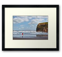lady in red with high heels on beach Framed Print