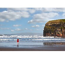 lady in red with high heels on beach Photographic Print