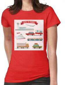 Time to Travel. Set of Transportation - Airplane, Train, Ship, Car, Truck and Van Womens Fitted T-Shirt