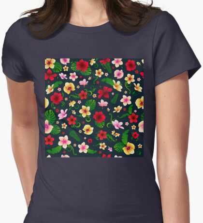 Tropical Flowers Seamless Background Womens Fitted T-Shirt
