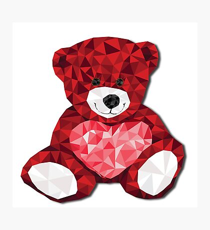 Teddy with heart Photographic Print