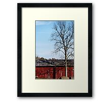 Red Barn With Tree Framed Print