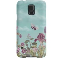 Mauve flowers on turquoise sky background Samsung Galaxy Case/Skin