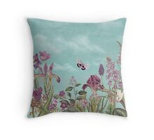 Mauve flowers on turquoise sky background Throw Pillow