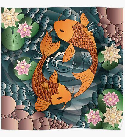 Carp Koi Fish in pond 001 Poster