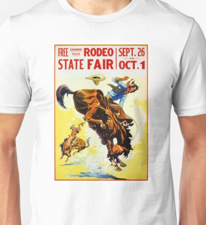 Vintage 1930s Rodeo Poster Restored Unisex T-Shirt