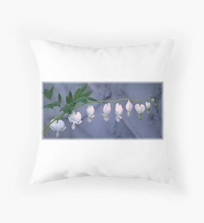 White Bleeding Heart Throw Pillow