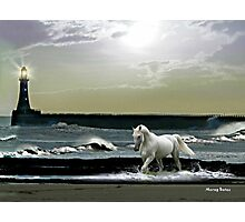 By the Light of the Silvery Moon - Roker Pier & Lighthouse Photographic Print