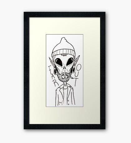 Hipster Alien Far Out Black and White Framed Print