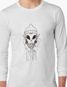 Hipster Alien Far Out Black and White Long Sleeve T-Shirt
