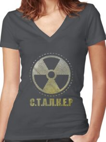 STALKER - Loner Faction Patch Women's Fitted V-Neck T-Shirt
