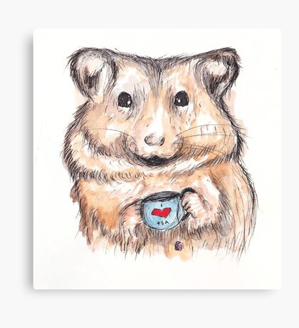 I Love Tea Hamster Canvas Print