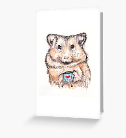 I Love Tea Hamster Greeting Card