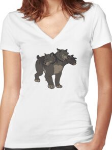 Fang and Fluffy Women's Fitted V-Neck T-Shirt