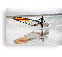 lone Atlantic windsurfer getting ready to surf Canvas Print
