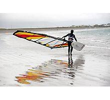 lone Atlantic windsurfer getting ready to surf Photographic Print