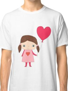 Cute girl with a heart shaped balloon Classic T-Shirt
