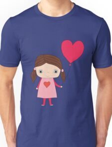 Cute girl with a heart shaped balloon Unisex T-Shirt