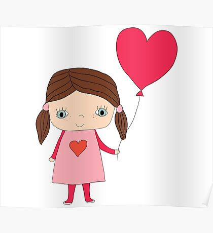 Cute girl with a heart shaped balloon Poster