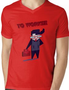 TO WORKEE Mens V-Neck T-Shirt