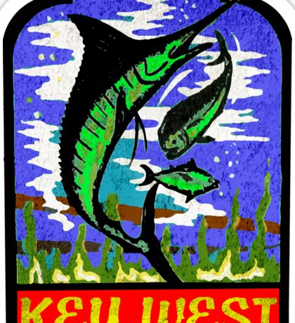 KEY WEST FLORIDA VINTAGE MARLIN FISHING OCEAN BEACH VACATION Sticker