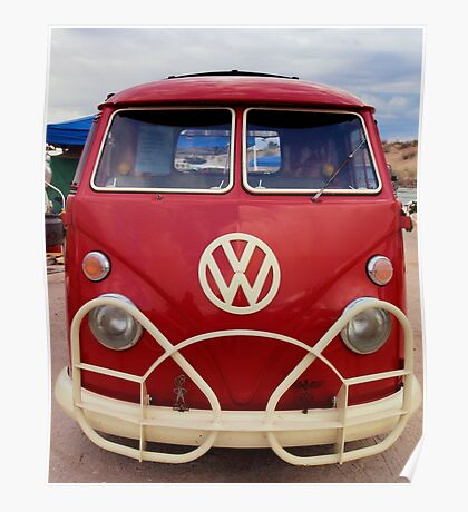 Red VW Bus Poster
