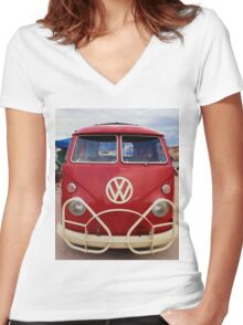 Red VW Bus Women's Fitted V-Neck T-Shirt