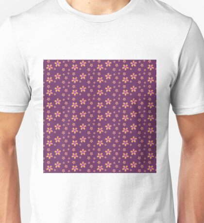 Yellow and Red Button Flowers on Purple Unisex T-Shirt
