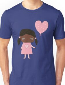 Kawaii girl in pink colors with heart balloon Unisex T-Shirt