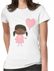 Kawaii girl in pink colors with heart balloon Womens Fitted T-Shirt
