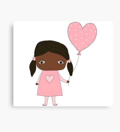 Kawaii girl in pink colors with heart balloon Canvas Print