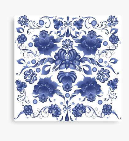 Floral Background in Gzhel Style Canvas Print