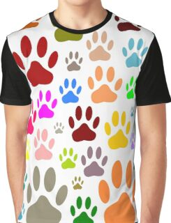 Dog Paw Prints All Over Graphic T-Shirt