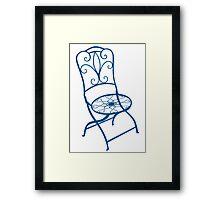 BISTRO FOLDING CHAIR - BLUE Framed Print
