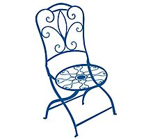 BISTRO FOLDING CHAIR - BLUE Photographic Print