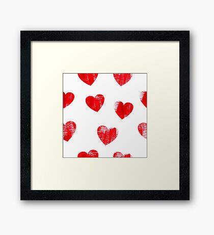 Red hearts pattern.  Framed Print