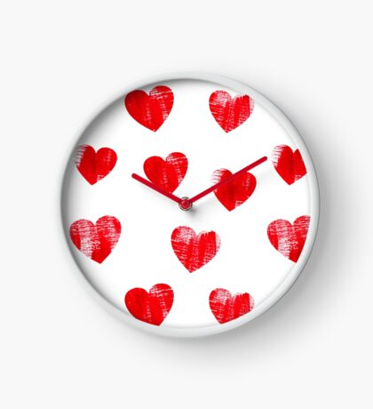 Red hearts pattern. Love. Clock